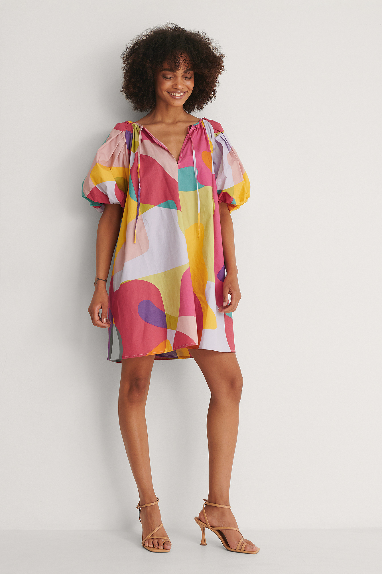 Geometric Bright Organic Maxi Volume Mini Cotton Dress
