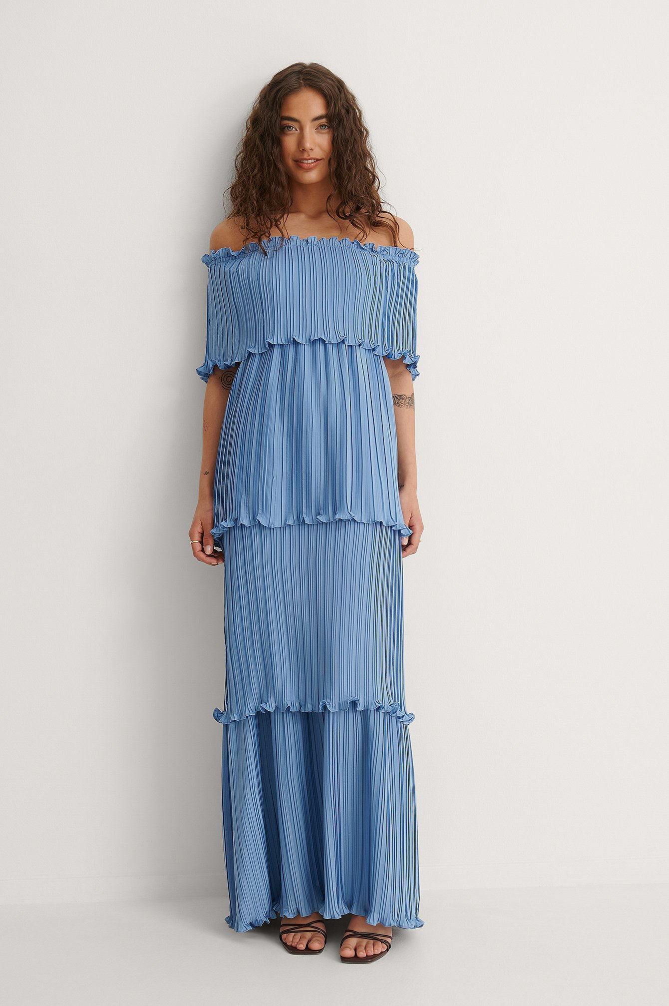 Blue Maxi Pleated Panel Dress