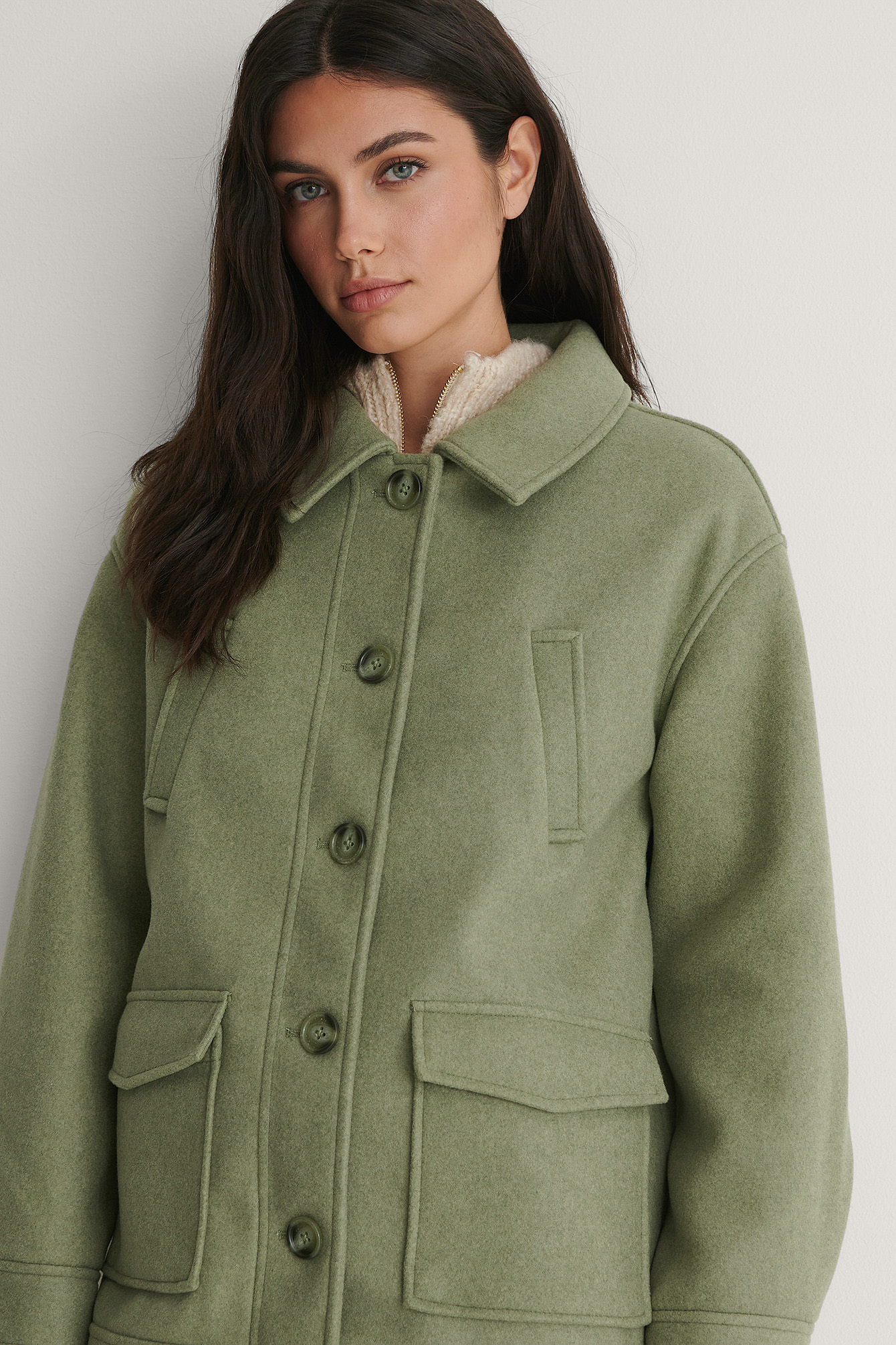 Green Melange Button Jacket