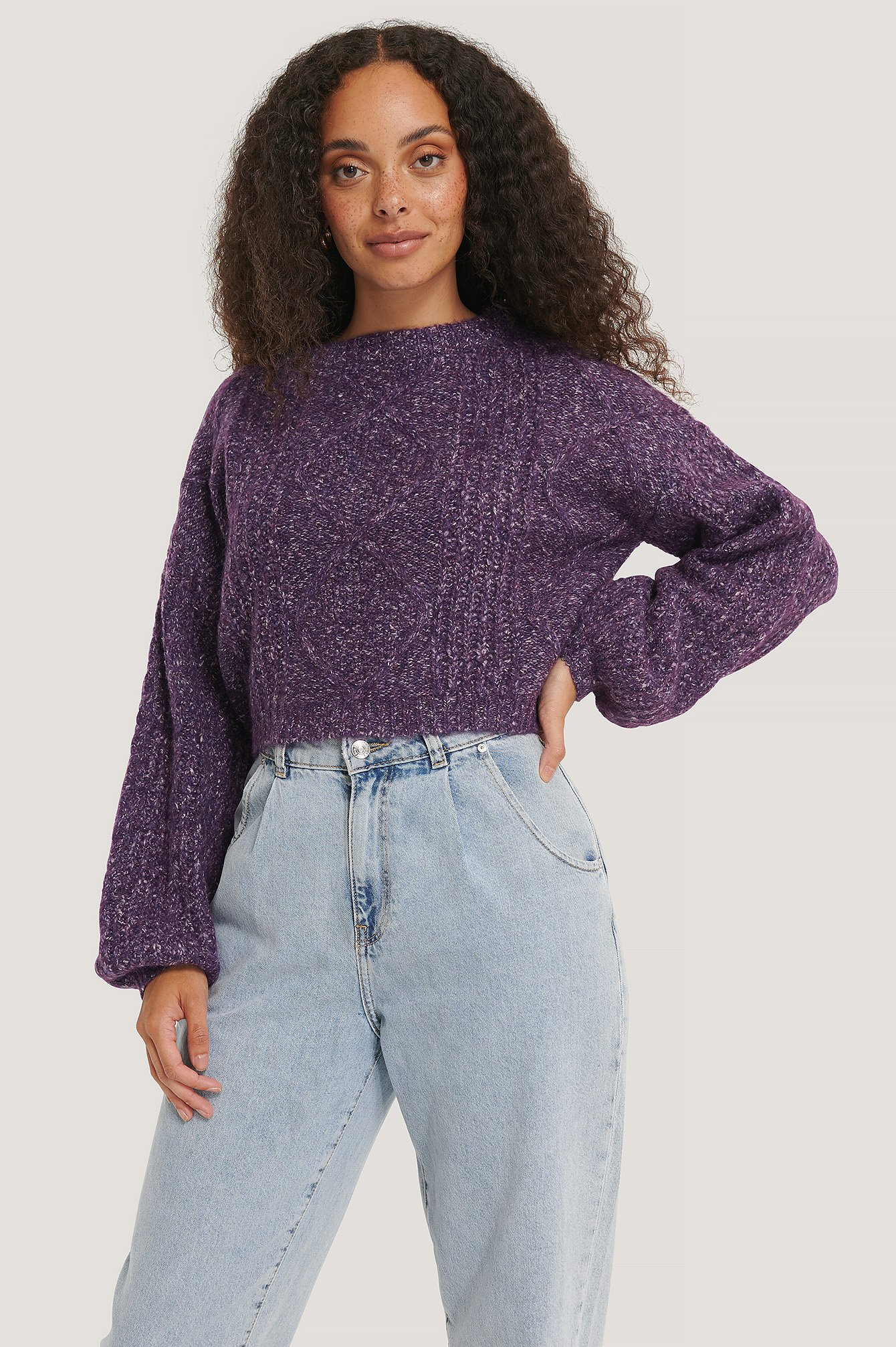NA-KD Melange Knitted Cropped Sweater - Purple