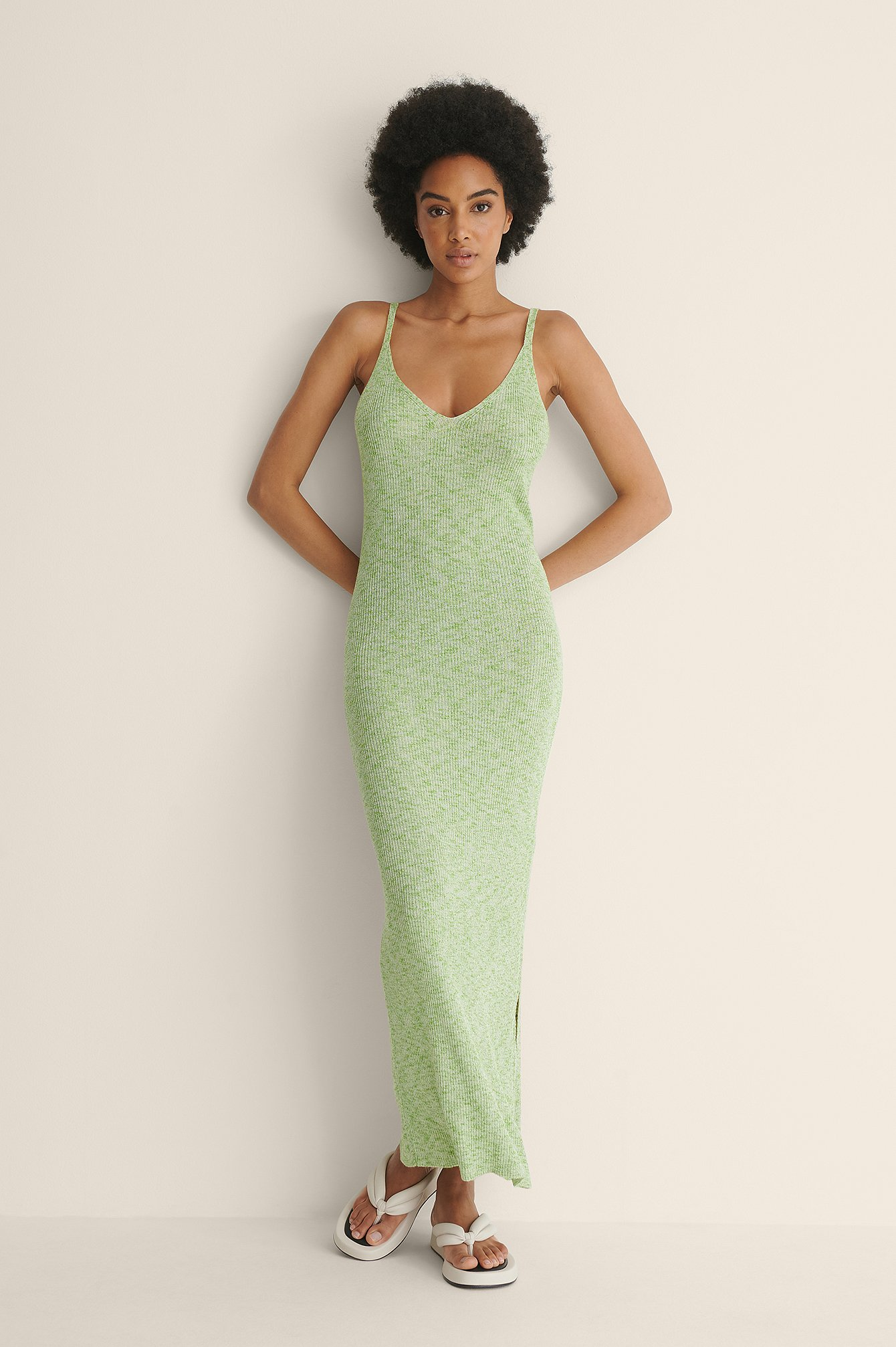 Green Melange Melange Knitted Dress