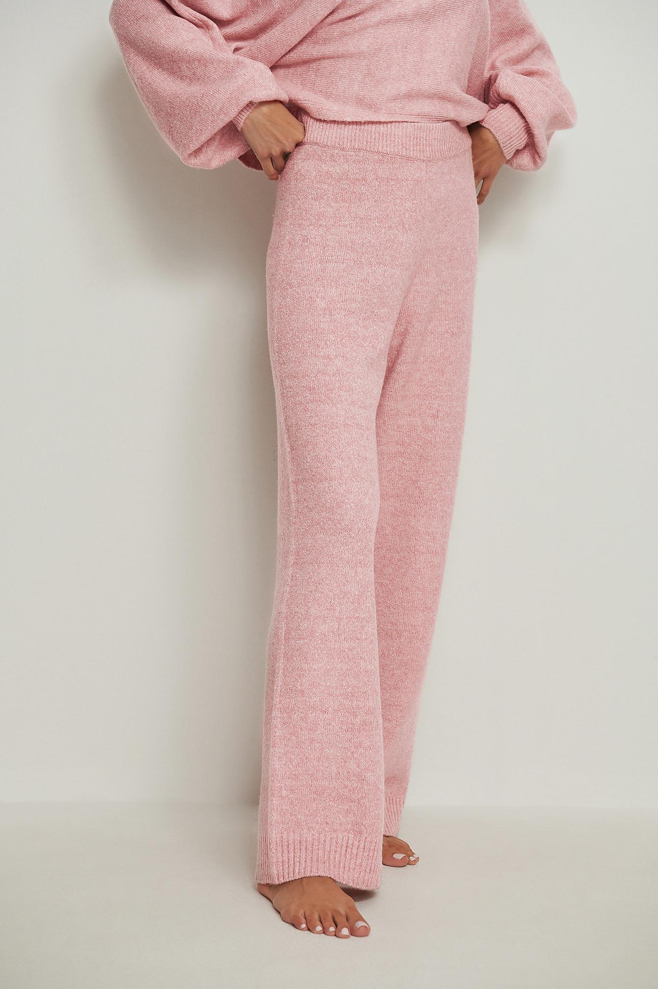 na-kd -  Weite Melange-Strickhose - Pink