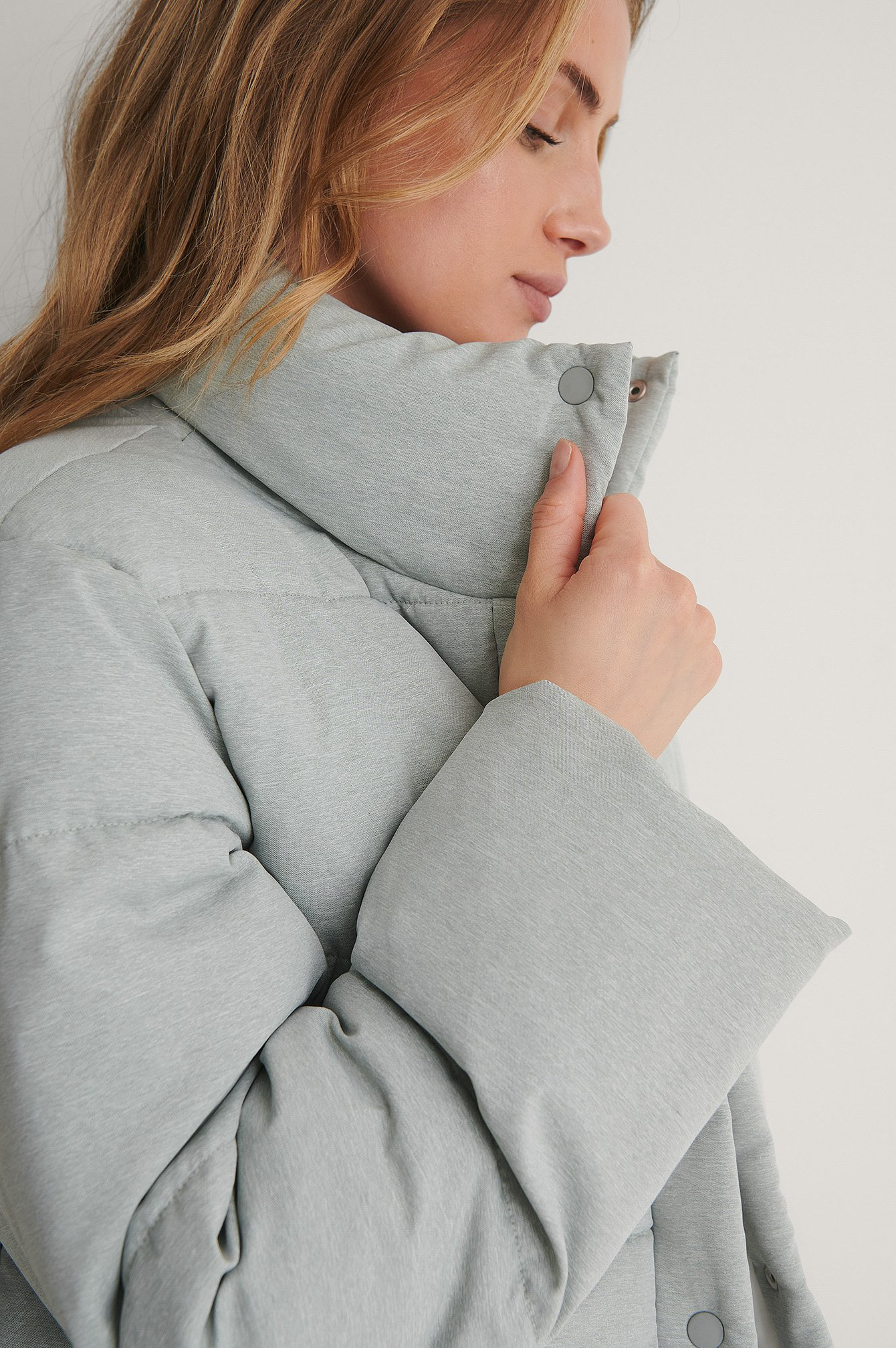 Grey Recycled Melange Padded Jacket