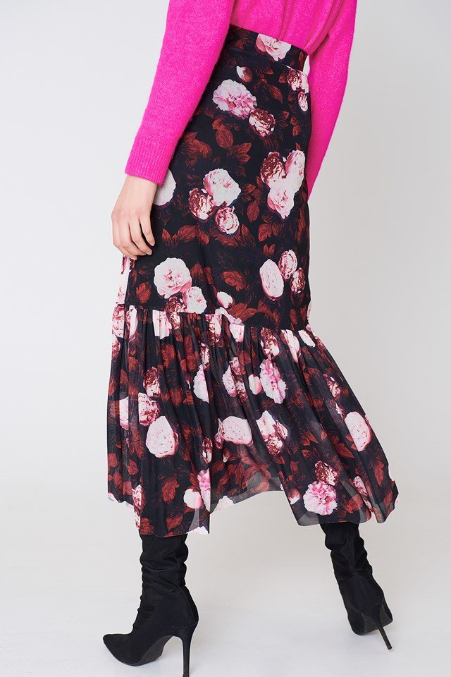 Mesh Ankle Length Skirt Red Flower