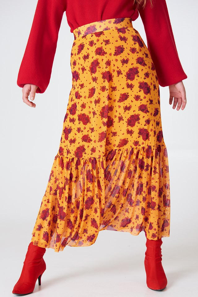 Mesh Ankle Length Skirt Yellow/Red Print