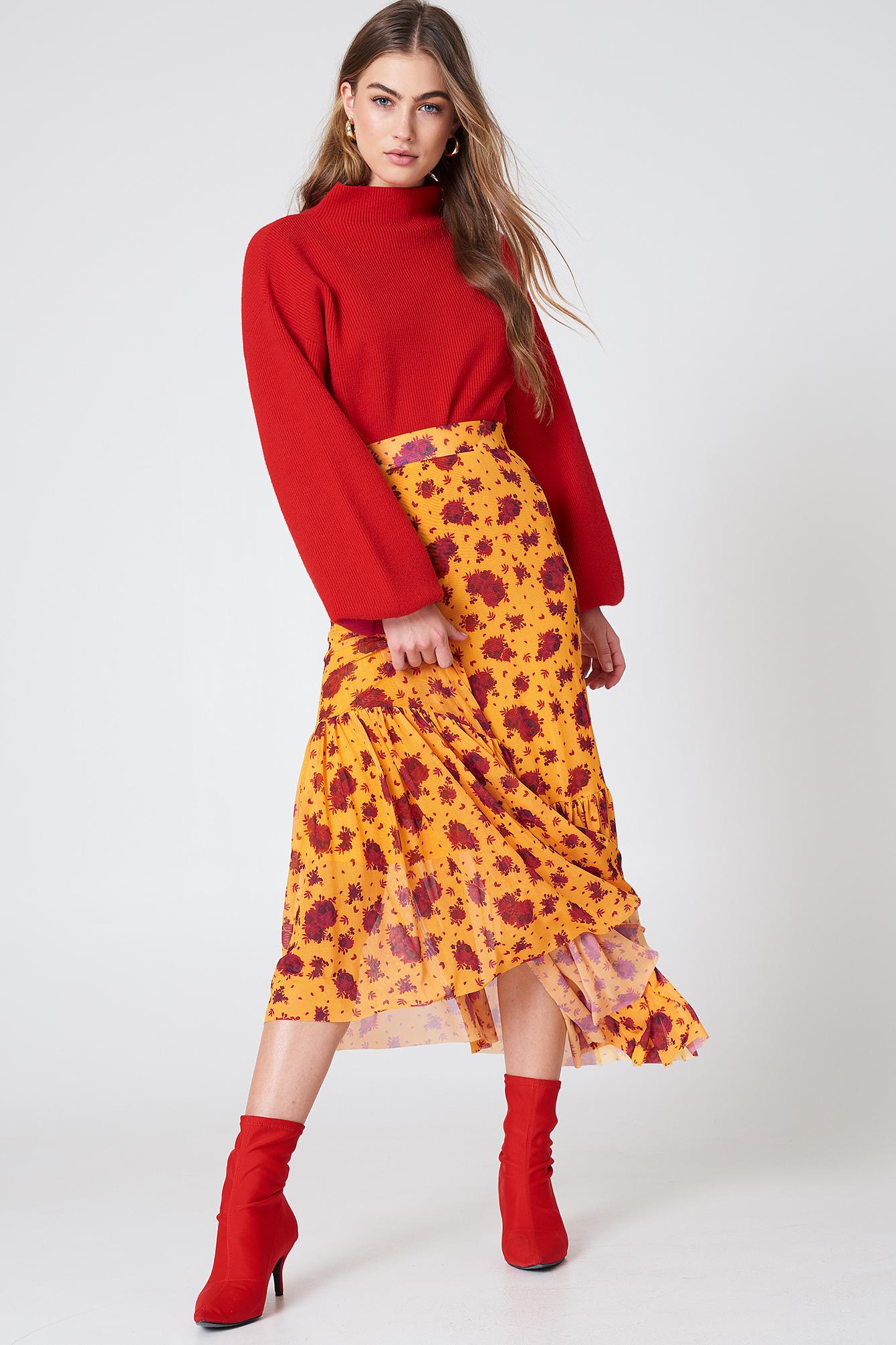 Mesh Ankle Length Skirt NA-KD.COM