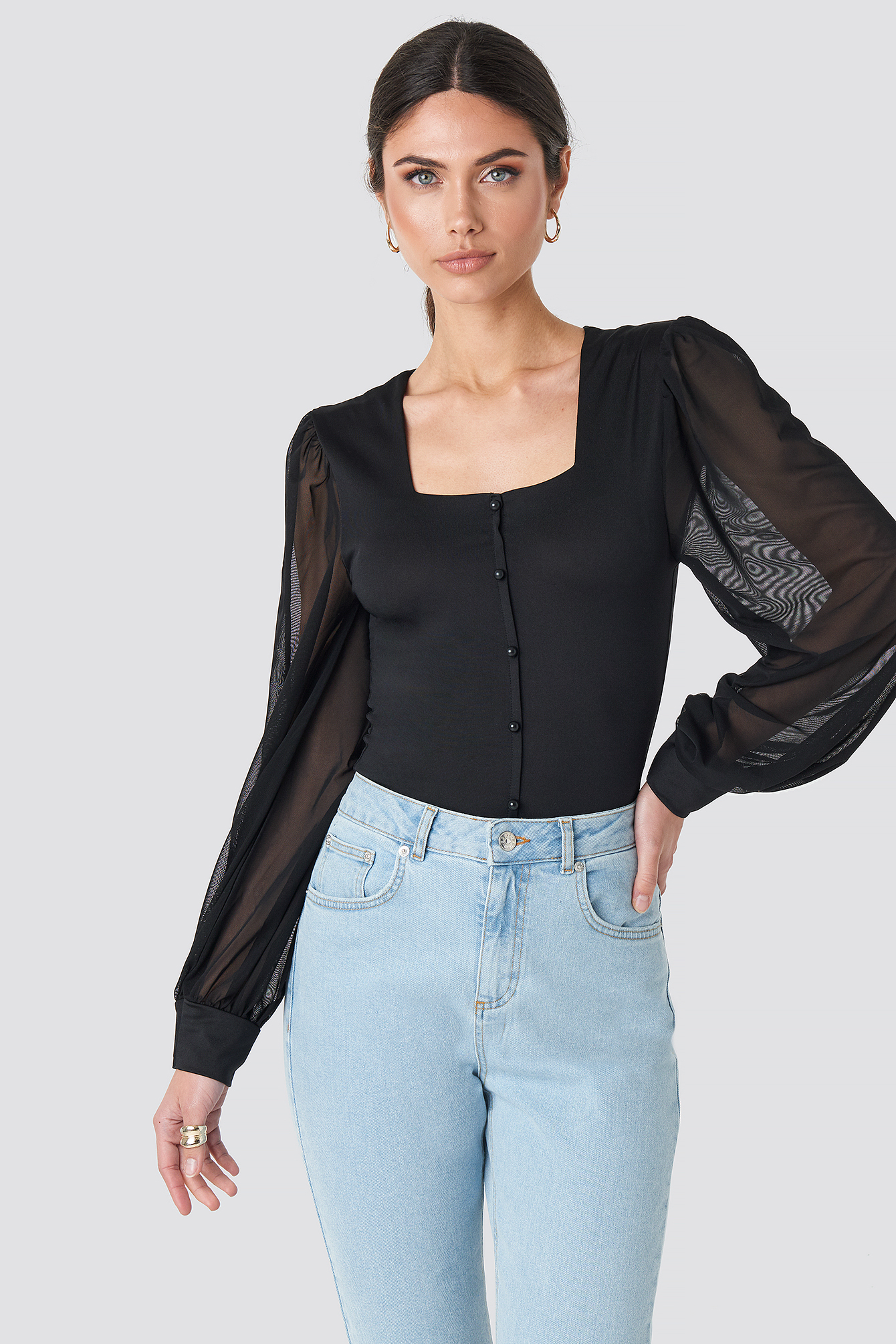Mesh Balloon Sleeve Button Up Blouse Noir by Na Kd