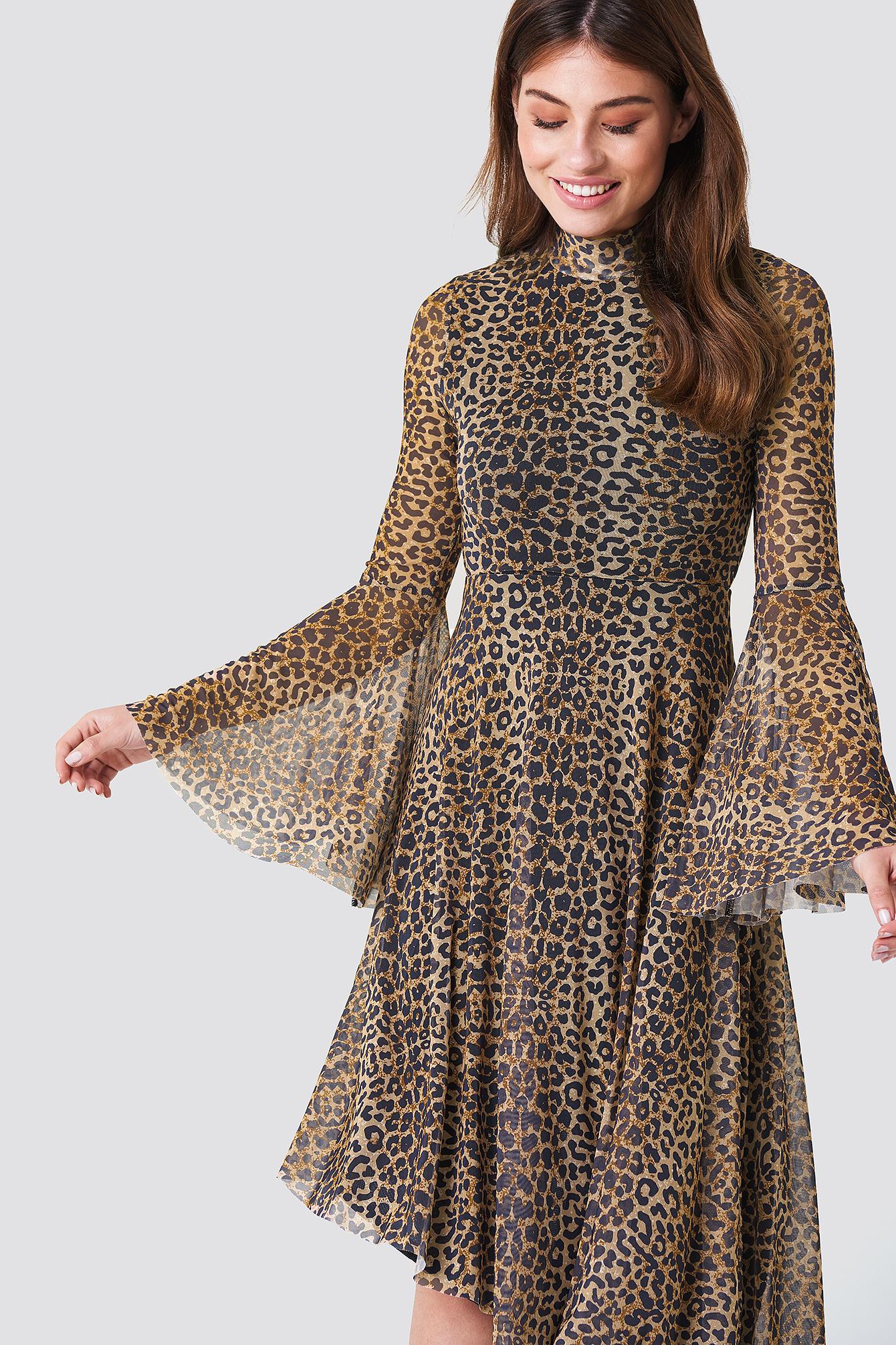 f68c0d213 Mesh Bell Sleeve Dress Leopard