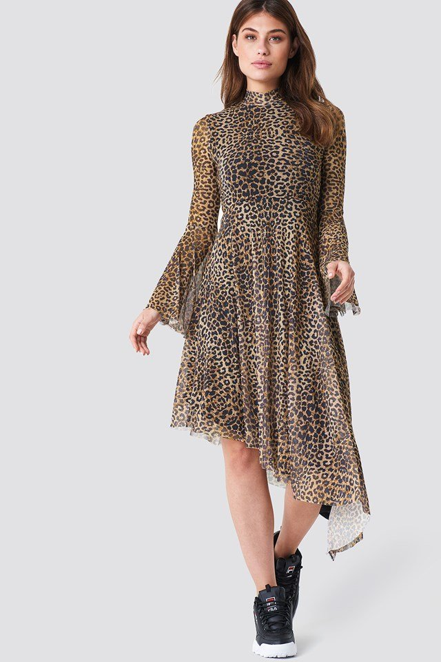 Mesh Bell Sleeve Dress Leopard