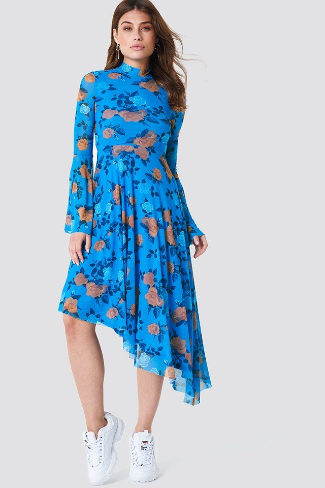Mesh Bell Sleeve Dress Light Cobalt Rose