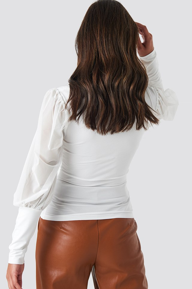 Mesh Contrast Sleeve Jersey Blouse White