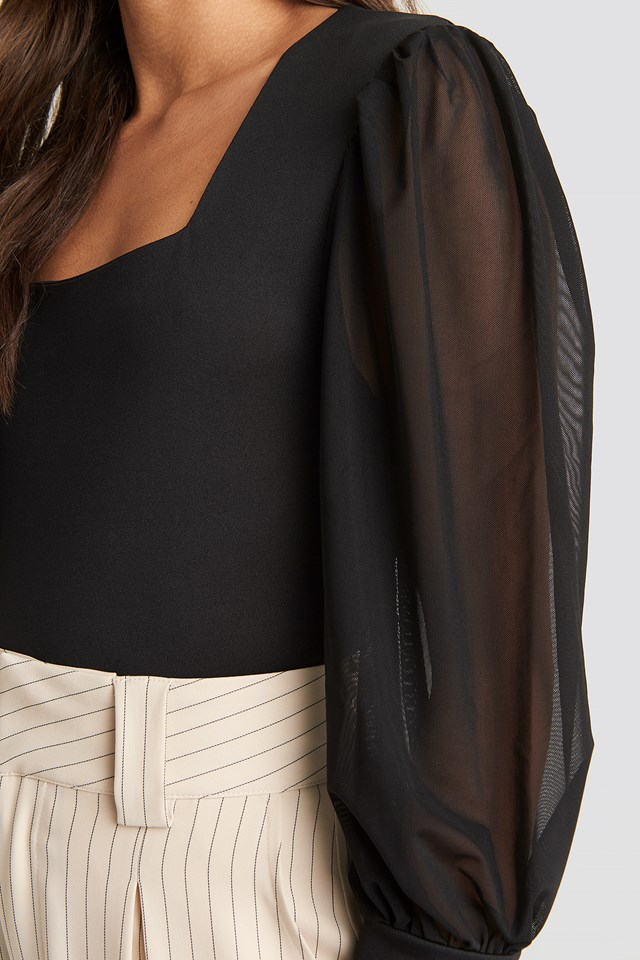 Mesh Contrast Sleeve Jersey Blouse Black