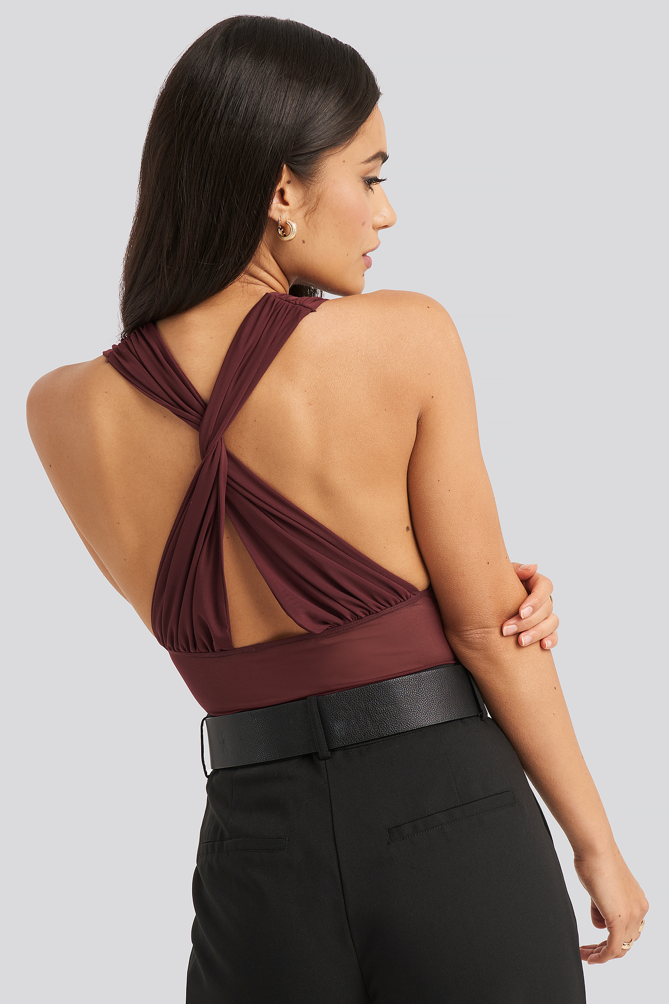 Burgundy Mesh Cross Back Body