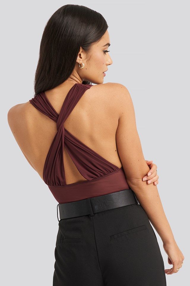 Mesh Cross Back Body Burgundy
