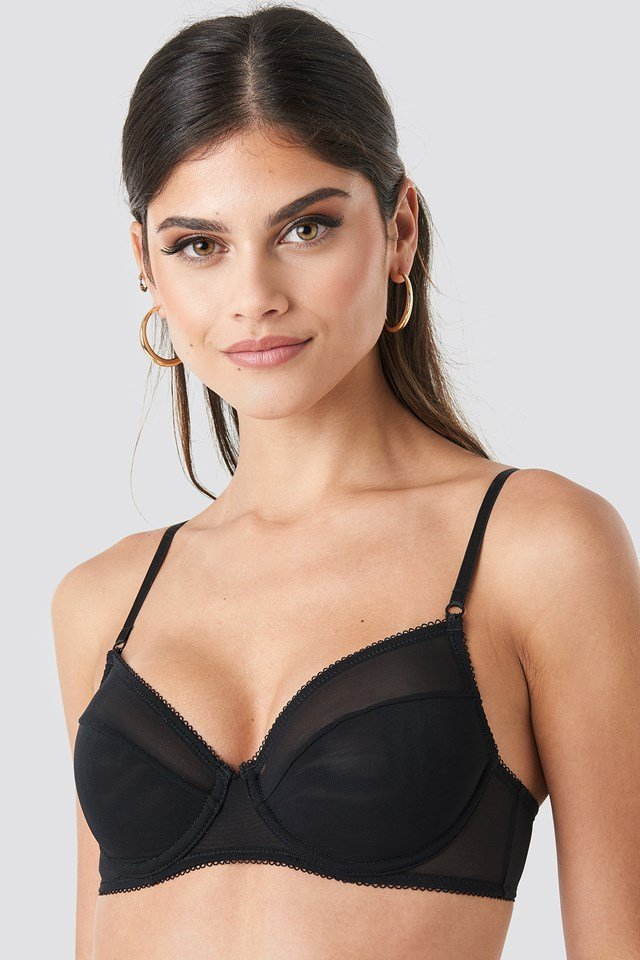 Mesh Detailed Edge Cup Bra Black