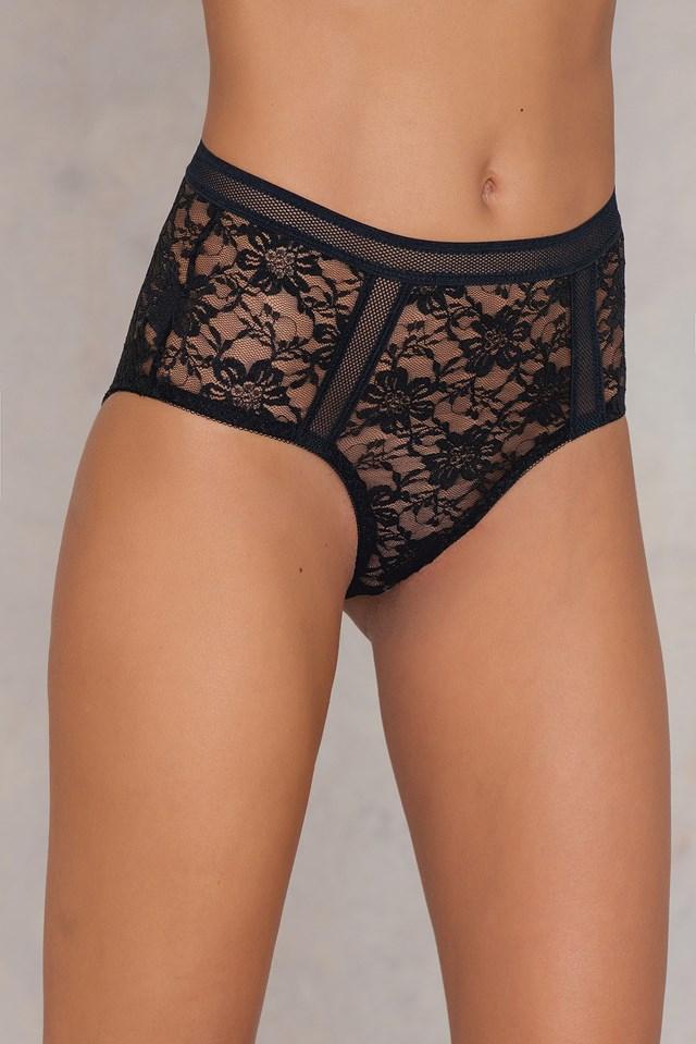 Mesh Detail Panty Black
