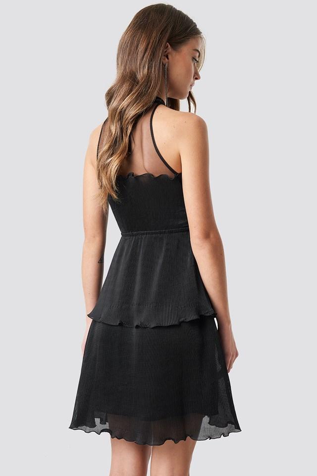Mesh Detail Pleated Mini Dress Black