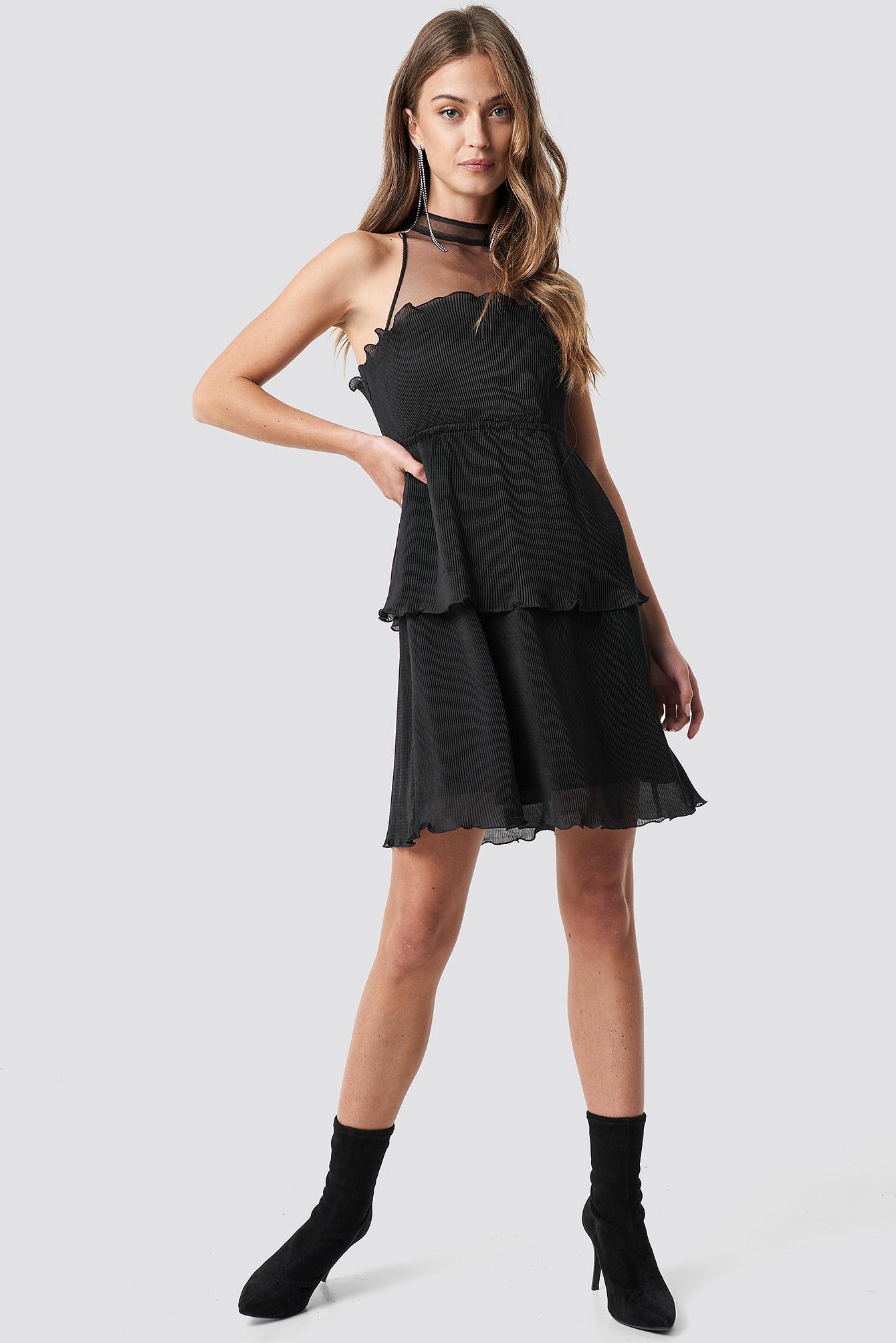 Mesh Detail Pleated Mini Dress NA-KD.COM