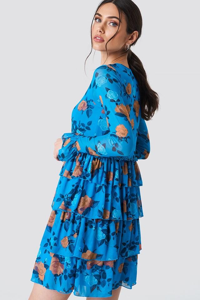 Mesh Flounce Short Dress Light Cobalt Rose