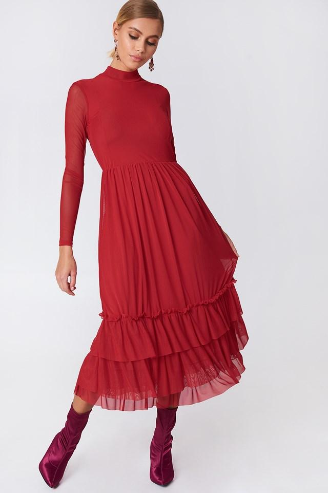 Siateczkowa sukienka z falbanką Red