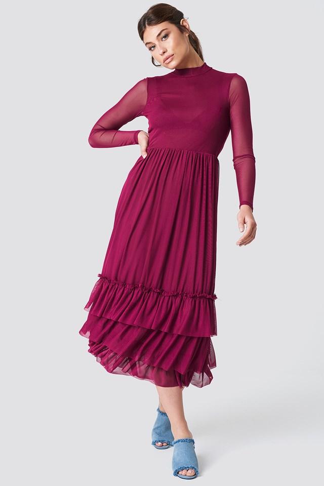 Mesh Frill Dress Burgundy