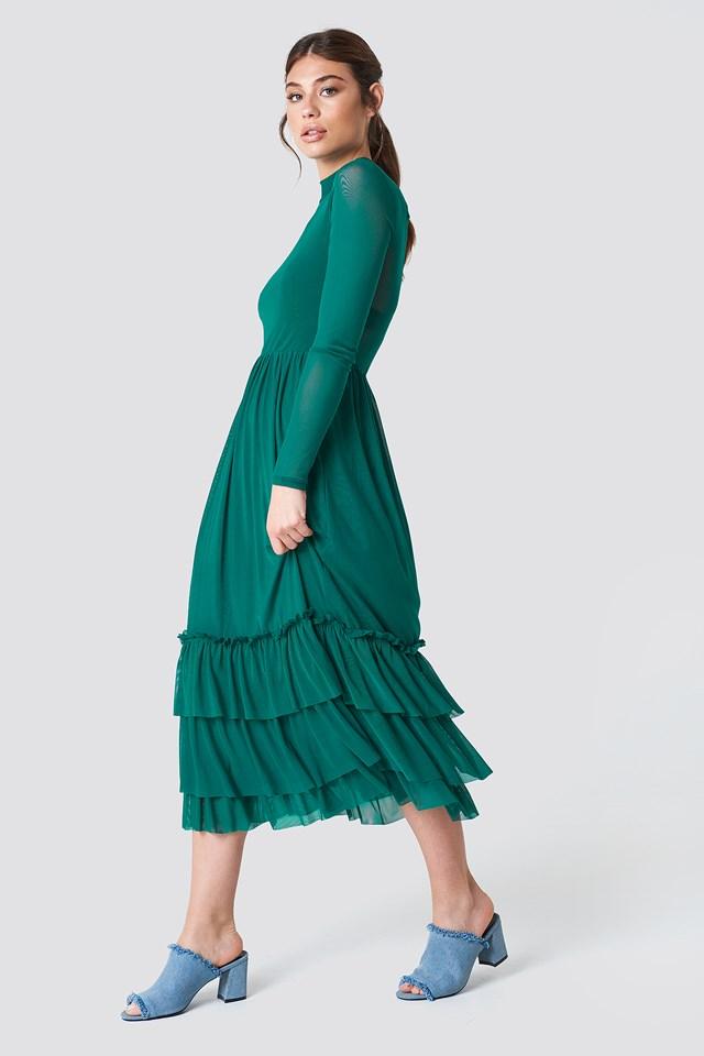 Mesh Frill Dress Emerald Green