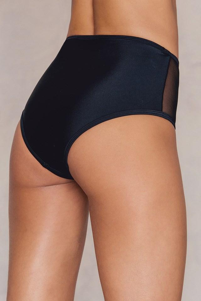Mesh High Waist Panties Black