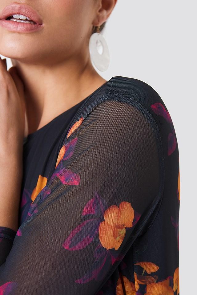 Mesh Knee Dress Orange/Purple Print