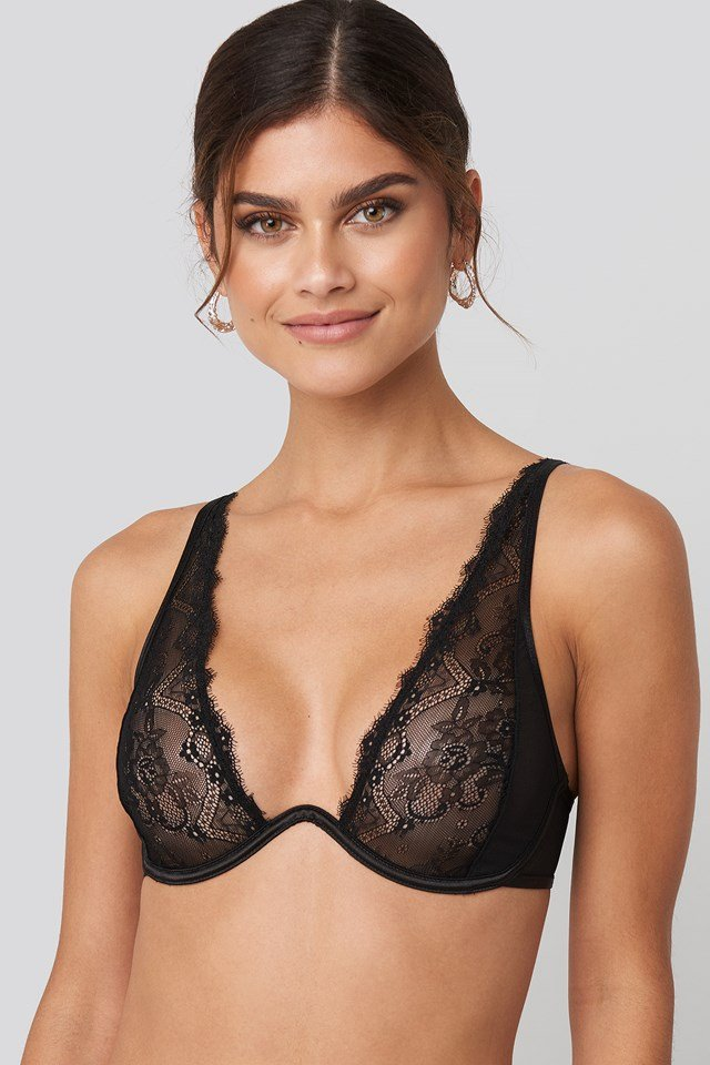 Mesh Lace Wire Bra Black