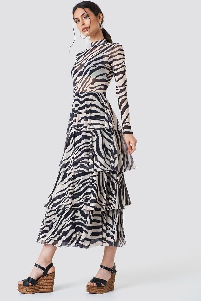 Siateczkowa sukienka z warstwami Zebra