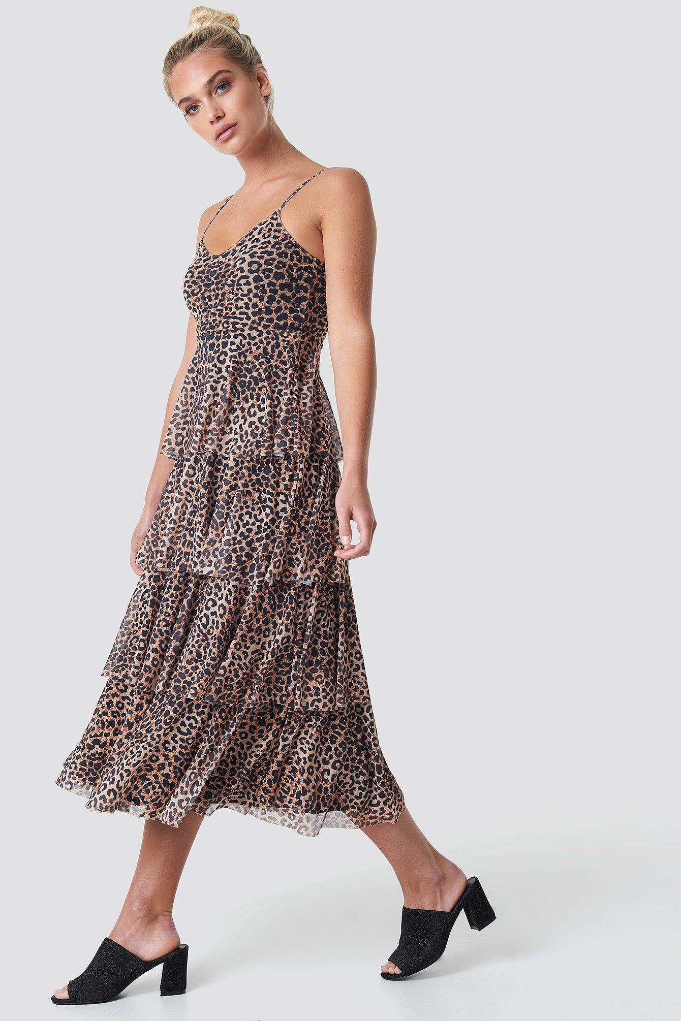 na-kd -  Mesh Layered Slip Dress - Brown