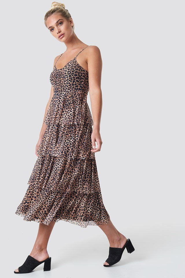 Sukienka na ramiączkach Leoprint