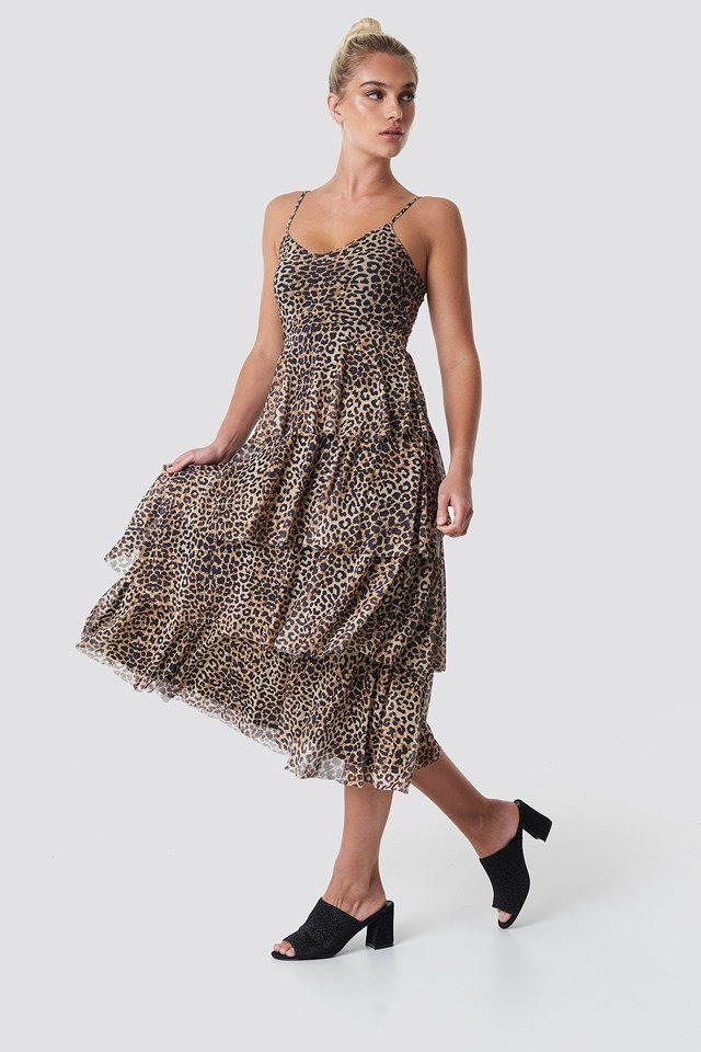 Mesh Layered Slip Dress Leoprint