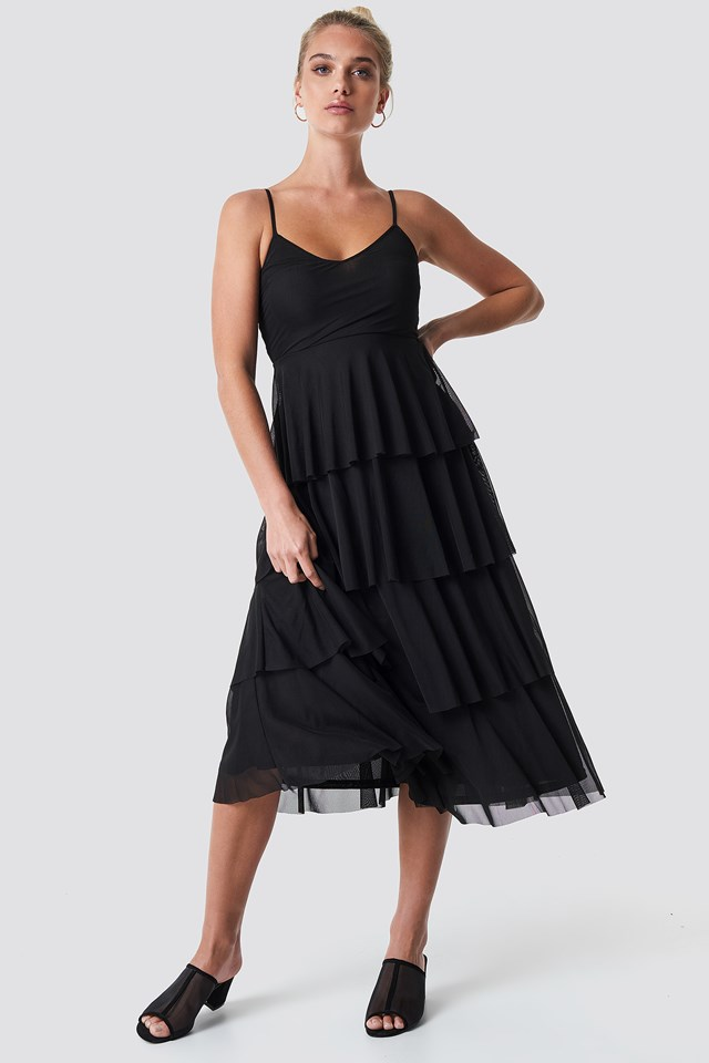 Mesh Layered Slip Dress Black