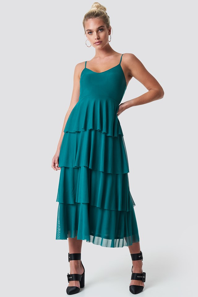 Mesh Layered Slip Dress Emerald Green