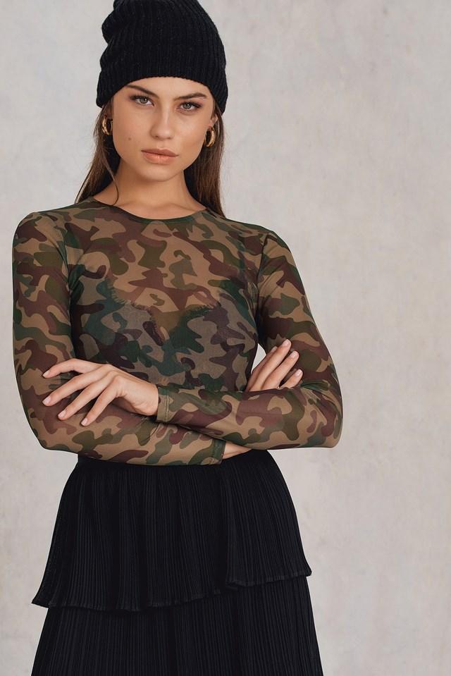 Mesh Long Sleeve Top Army