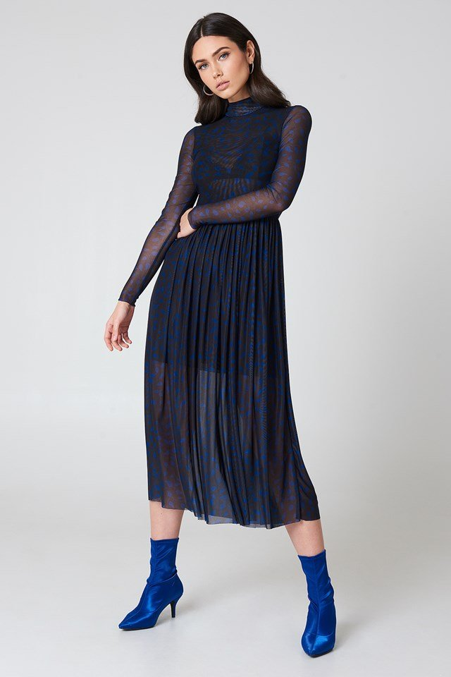Mesh LS Midi Dress Black/Blue Pattern