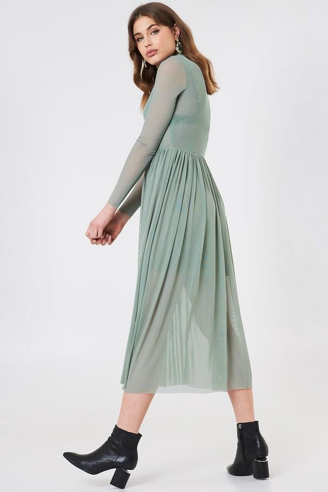 Mesh LS Midi Dress Duck Green