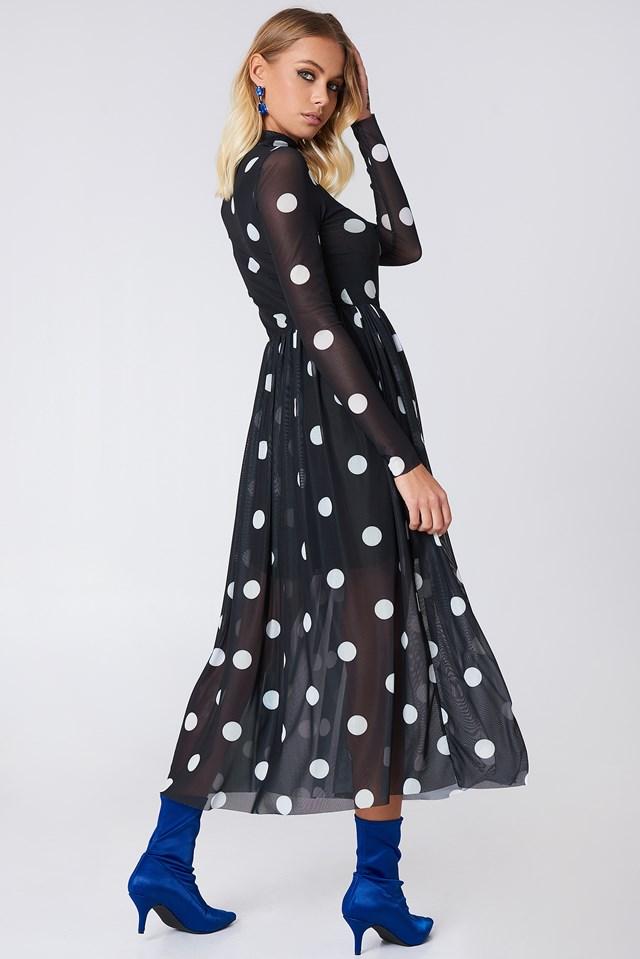 Mesh LS Midi Dress Black/White dots