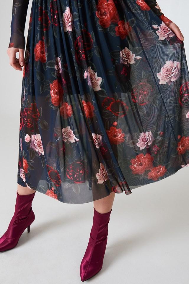Mesh LS Midi Dress Dark Rose