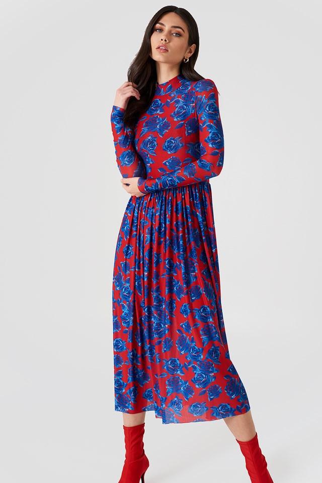 Mesh LS Midi Dress Red/Blue