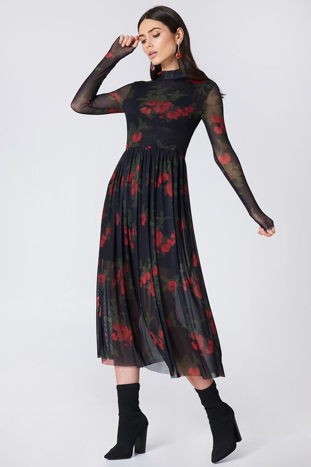 Mesh LS Midi Dress Wildflower Black/Red
