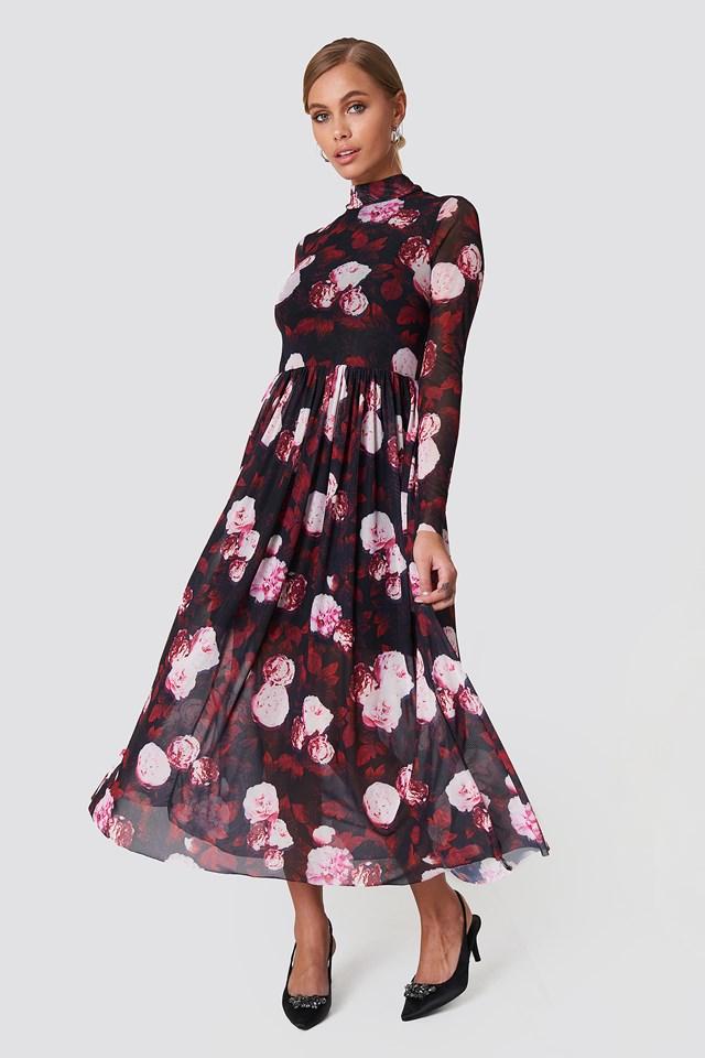 Mesh LS Midi Dress Red Flower