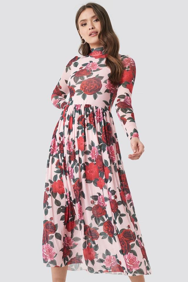 Mesh LS Midi Dress Pink Floral