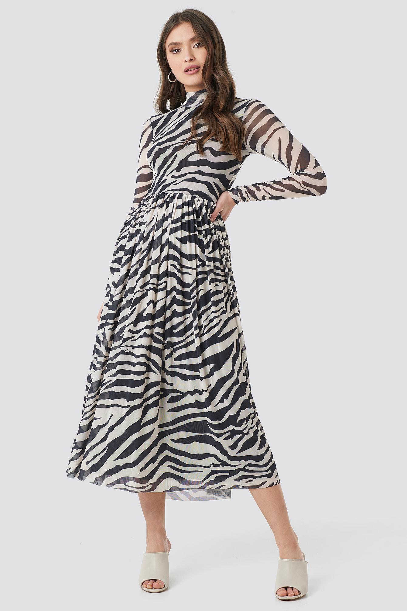 na-kd trend -  Mesh LS Midi Dress - Multicolor