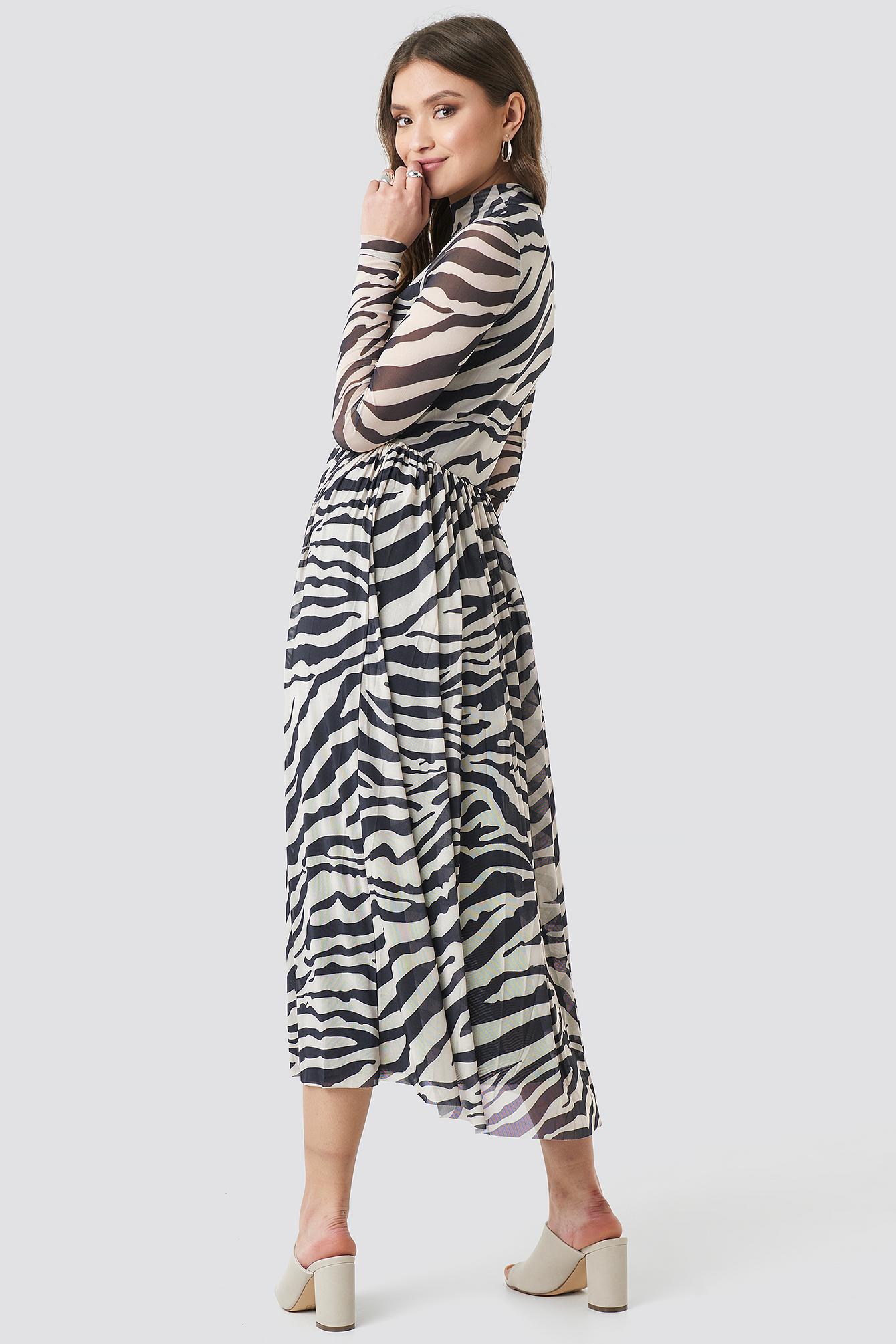 Mesh LS Midi Dress NA-KD.COM