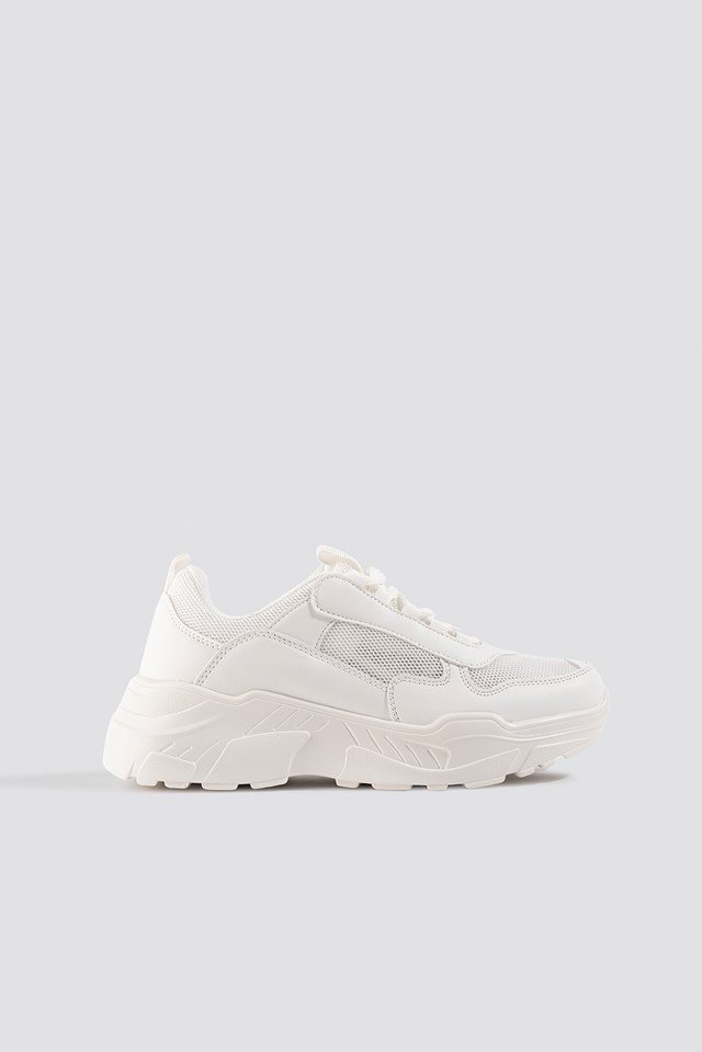 Mesh Mix Chunky Trainers White
