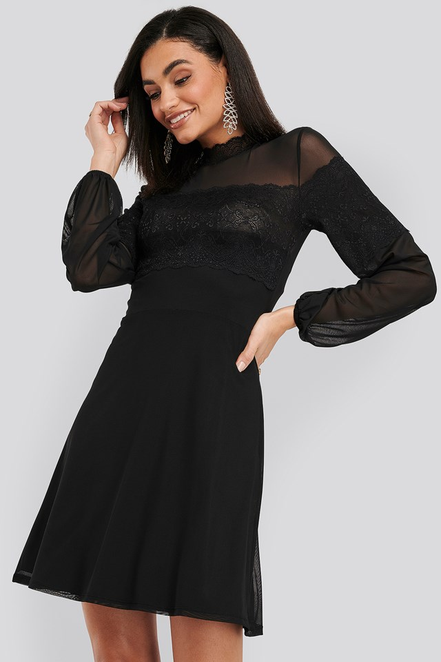 Mesh Mix Jersey Dress Black