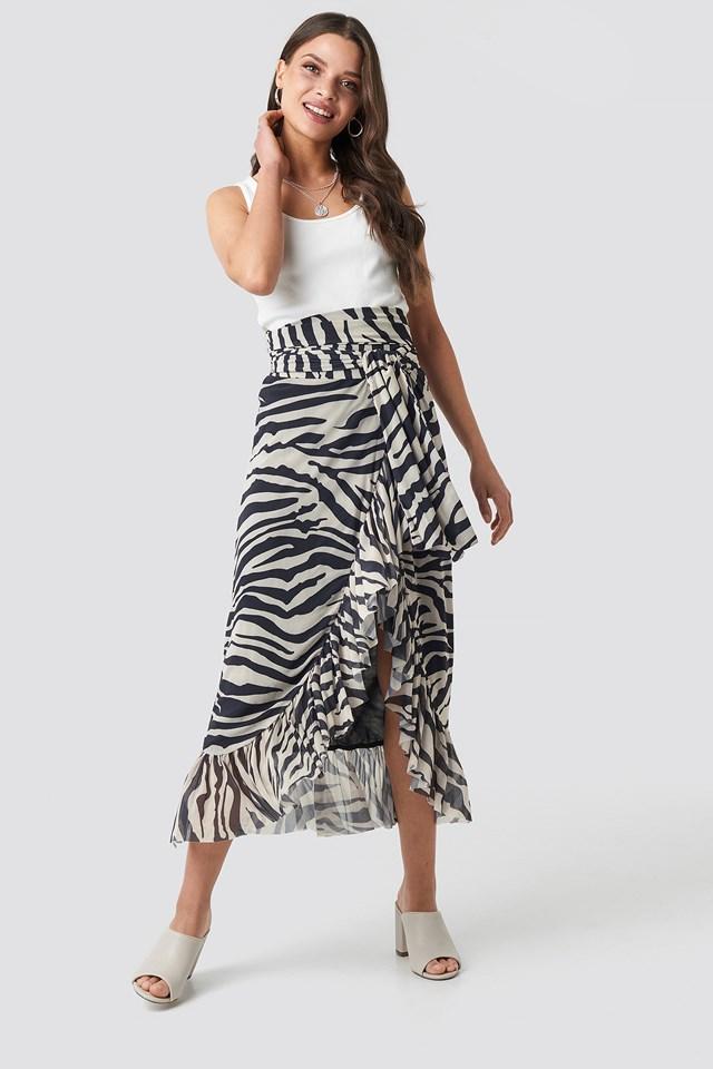 Mesh Overlap Maxi Skirt Zebra