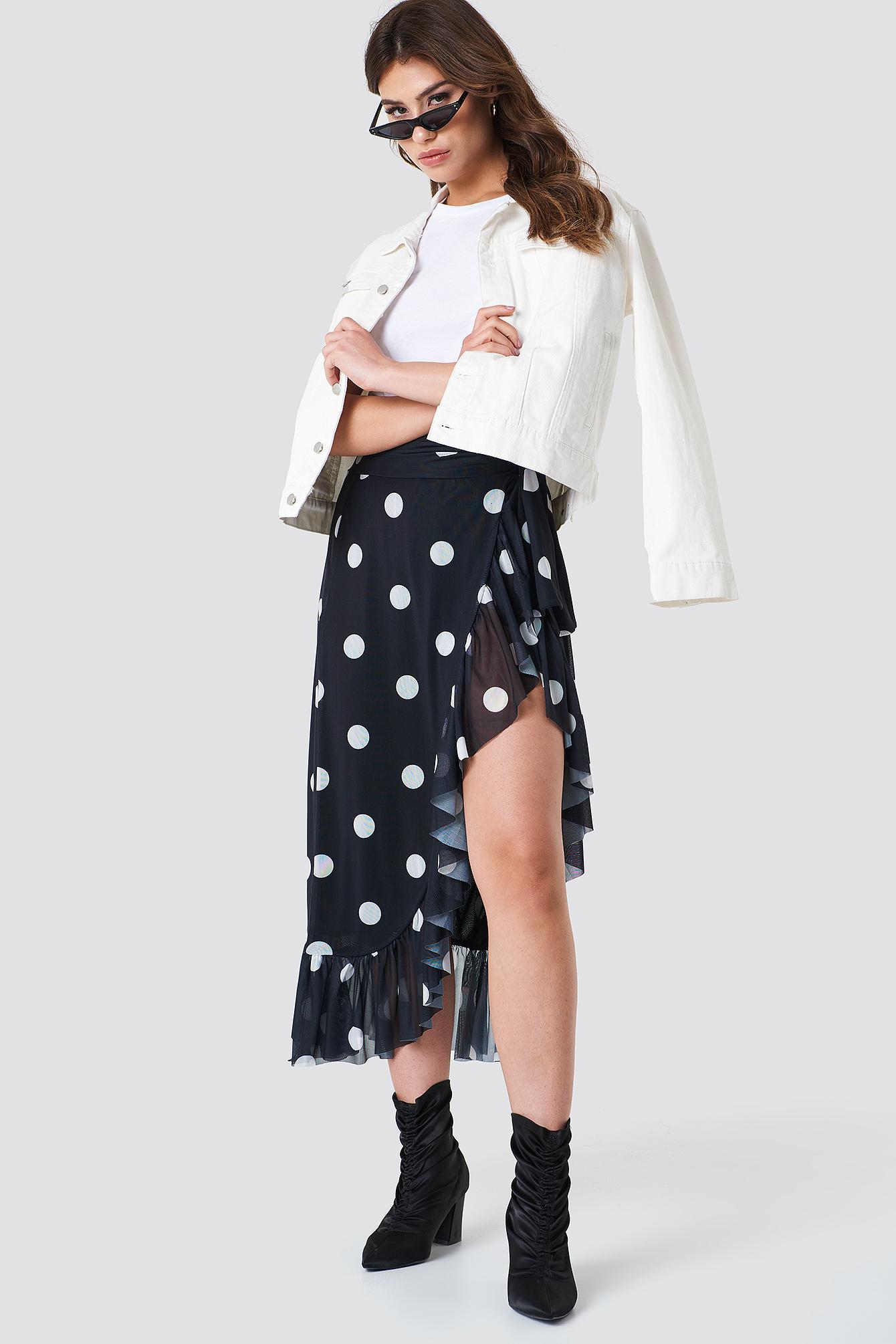 na-kd trend -  Mesh Overlap Maxi Skirt - Black